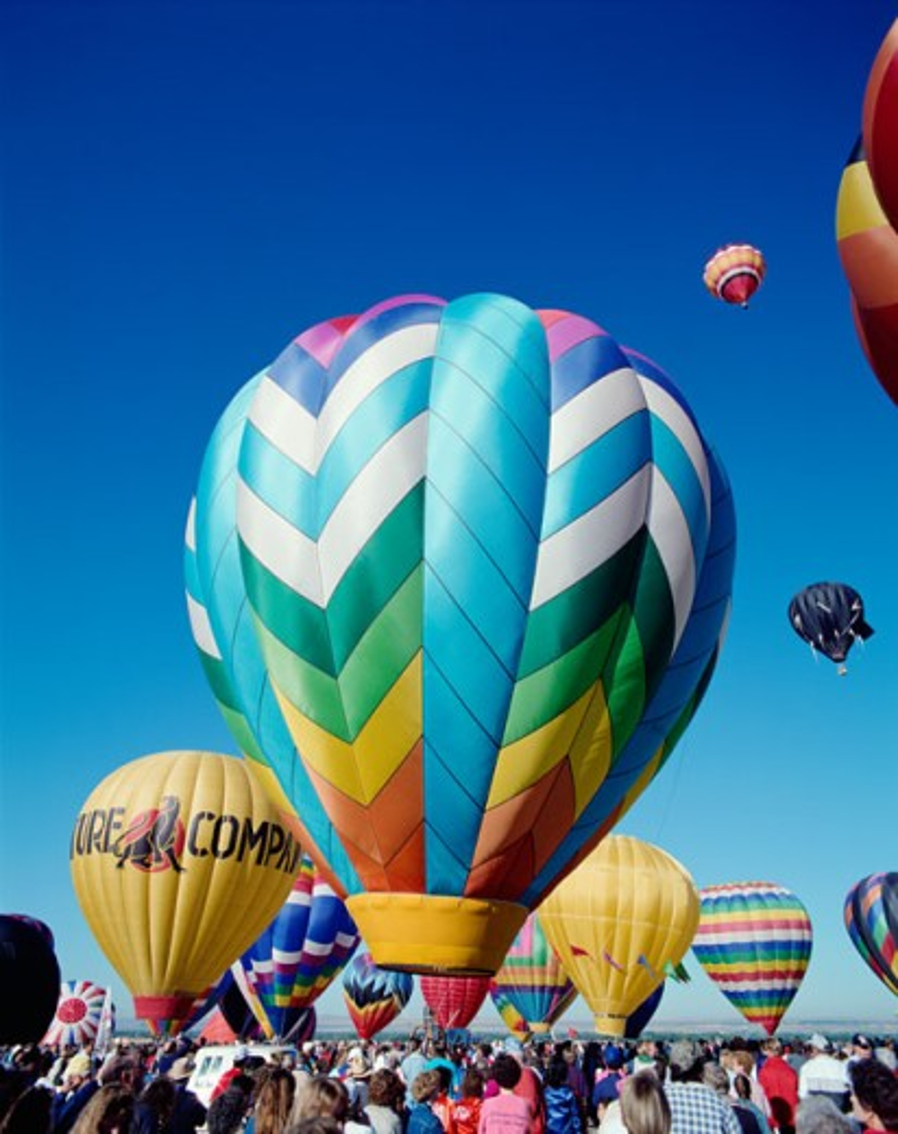 Stock Photo: 442-5771 Hot air balloons taking off, Albuquerque International Balloon Fiesta, Albuquerque, New Mexico, USA