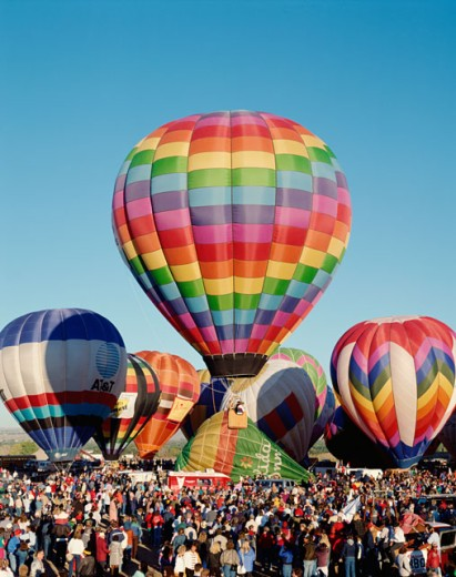 Hot air balloons taking off, Albuquerque International Balloon Fiesta, Albuquerque, New Mexico, USA : Stock Photo