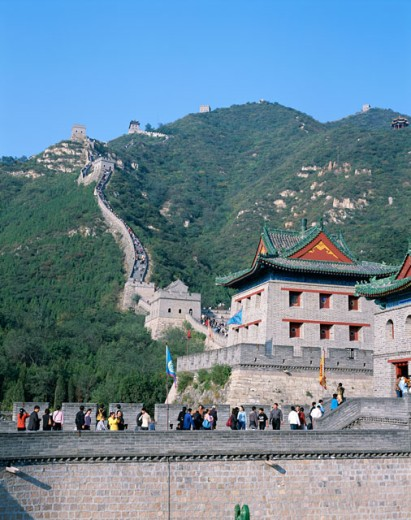 Stock Photo: 442-5871 Low angle view of the Great Wall, Juyongguan, Beijing, China