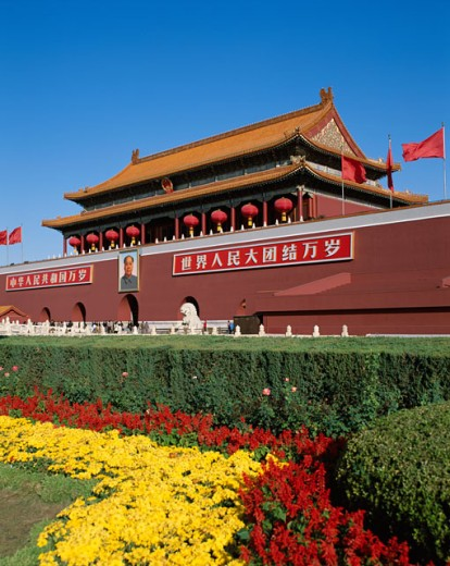 Stock Photo: 442-5880 Flowers in front of Tiananmen Gate, Tiananmen Square, Beijing, China