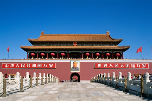 Facade of Tiananmen Gate, Tiananmen Square, Beijing, China : Stock Photo