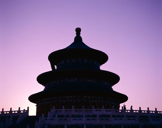 Silhouette of the Temple of Heaven, Beijing, China : Stock Photo