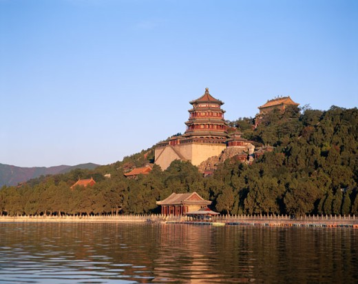 Low angle view of a palace, Summer Palace, Kunming Lake, Beijing, China : Stock Photo
