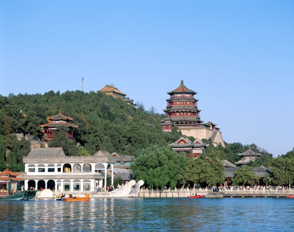 Marble Boat on Kunming Lake, Summer Palace, Beijing, China : Stock Photo
