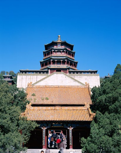 Low angle view of a building, Summer Palace, Beijing, China : Stock Photo
