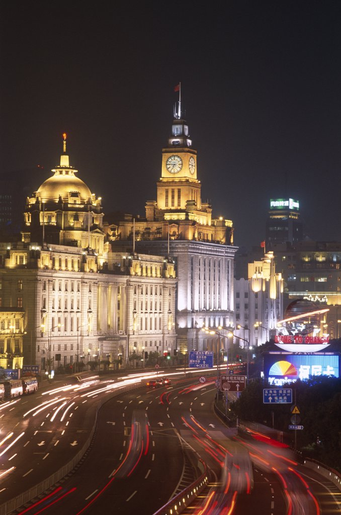 Colonial buildings lit up at night, The Bund, Shanghai, China : Stock Photo