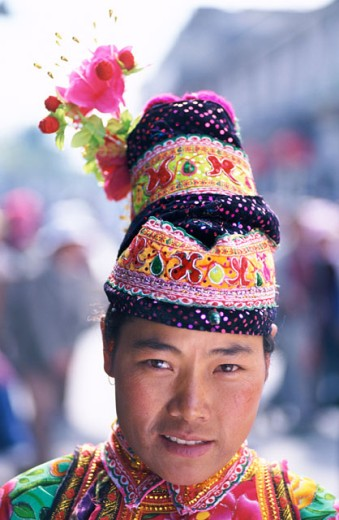 Stock Photo: 442-6102 Portrait of a woman dressed in an ethnic costume, Dali, China