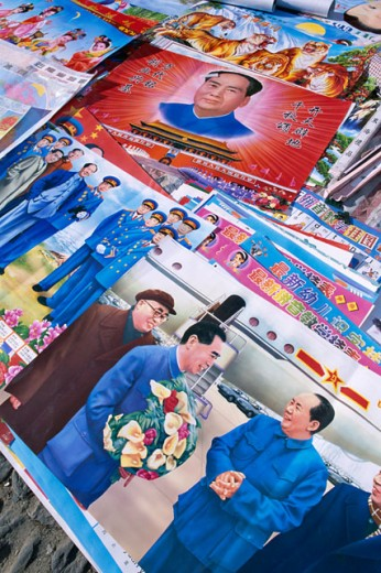 Stock Photo: 442-6112 Posters of Mao Zedong, Dali, China
