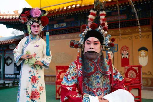 Stock Photo: 442-6156 Beijing opera performers on stage, Beijing, China