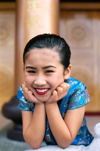 Stock Photo: 442-6167 Portrait of a girl dressed in a traditional Cheongsam Chinese dress, Beijing, China