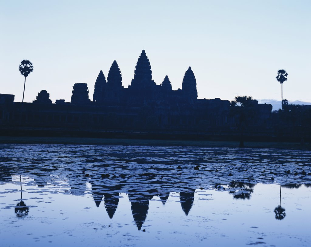 Silhouette of a temple, Angkor Wat, Siem Reap, Cambodia : Stock Photo