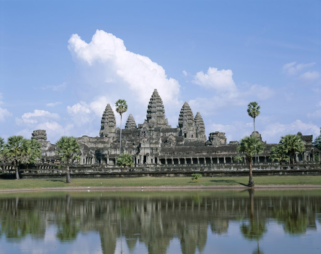 Stock Photo: 442-6348 Facade of a temple, Angkor Wat, Siem Reap, Cambodia