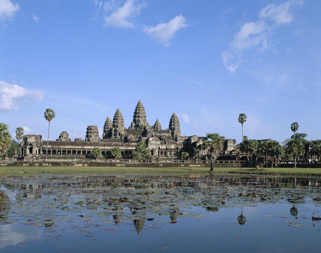 Facade of a temple, Angkor Wat, Siem Reap, Cambodia : Stock Photo