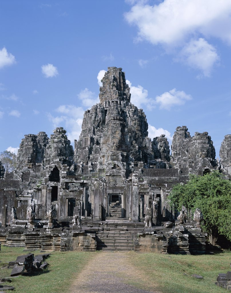 Facade of a Bayon temple, Angkor Thom, Siem Reap, Cambodia : Stock Photo