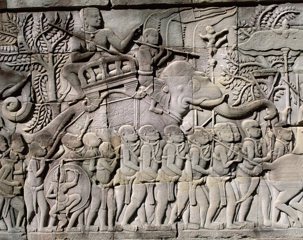 Stock Photo: 442-6362 Close-up of carvings on a wall of a Bayon Temple, Angkor Thom, Siem Reap, Cambodia