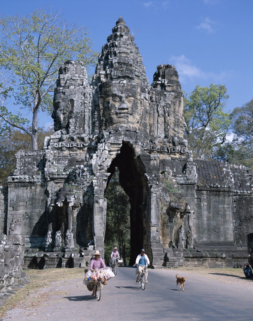 Gate of a temple, South Gate, Angkor Thom, Siem Reap, Cambodia : Stock Photo