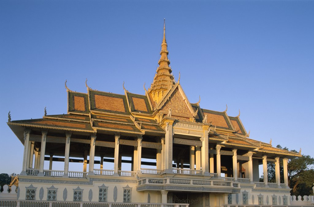 Low angle view of a pavilion, Chan Chaya Pavilion, Royal Palace, Phnom Penh, Cambodia : Stock Photo