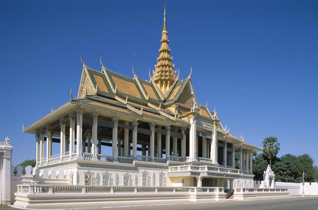 Facade of a pavilion, Chan Chaya Pavilion, Royal Palace, Phnom Penh, Cambodia : Stock Photo
