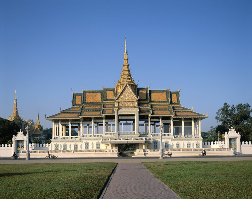 Facade of a pavilion, Chan Chaya Pavilion, Royal Palace, Phnom Penh, Cambodia : Stock Photo
