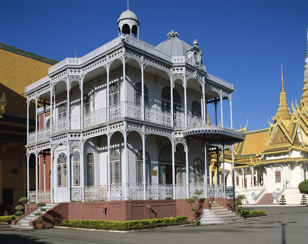 Facade of a palace, Pavilion of Napoleon III, Royal Palace, Phnom Penh, Cambodia : Stock Photo