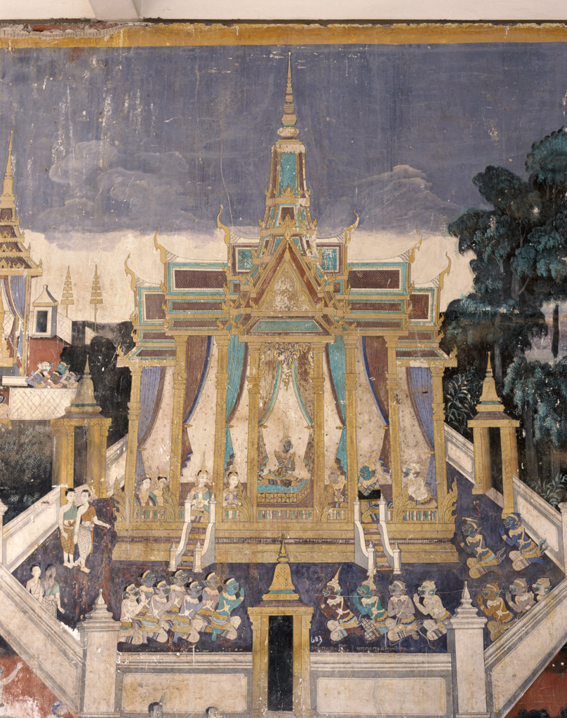 Stock Photo: 442-6386 Wall mural depicting the Ramayana story, Royal Pavilion, Phnom Penh, Cambodia