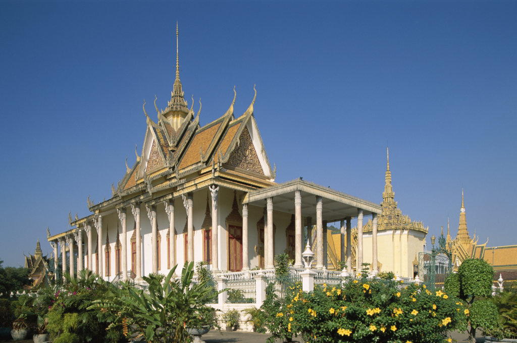 Stock Photo: 442-6388 Low angle view of a pagoda, Silver Pagoda, Royal Palace, Phnom Penh, Cambodia