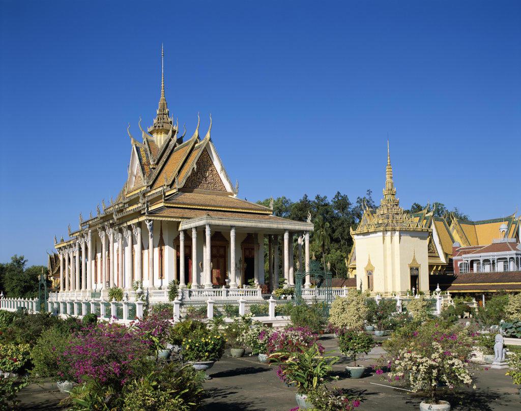 Stock Photo: 442-6391 Facade of a pagoda, Silver Pagoda, Royal Palace, Phnom Penh, Cambodia