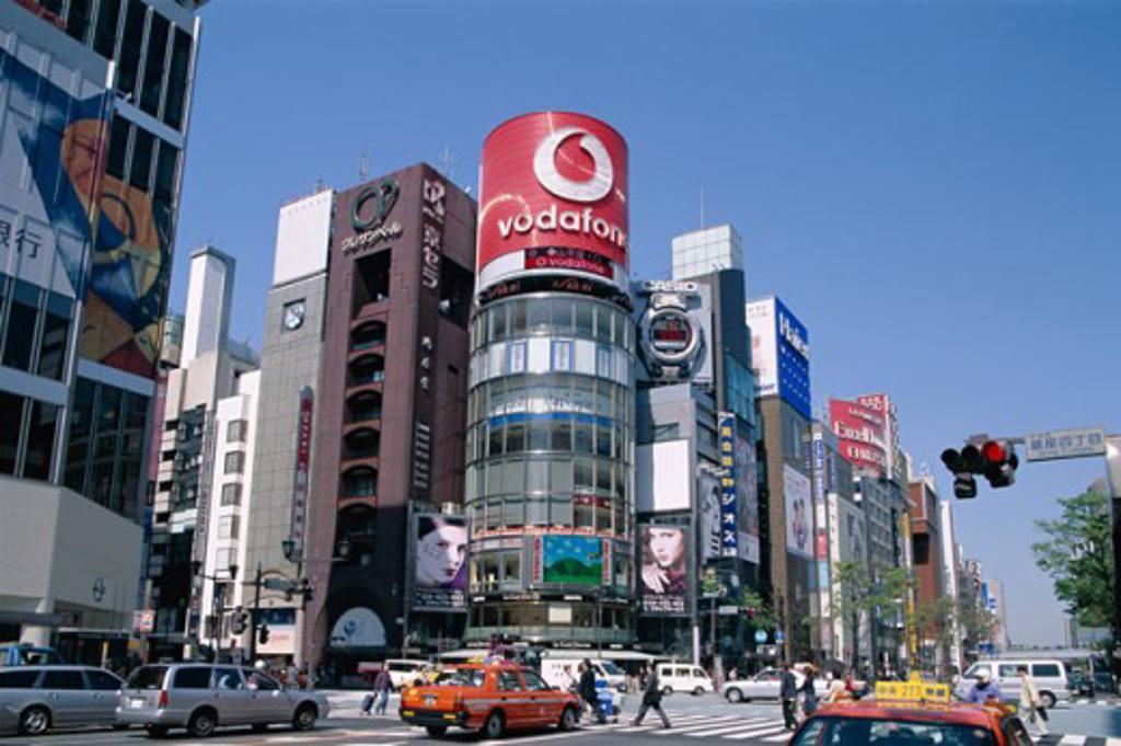 Traffic on a street, Ginza, Tokyo, Honshu, Japan : Stock Photo