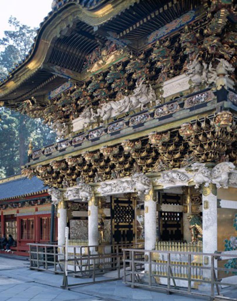Facade of a gate, Yomeimon Gate, Toshogu Shrine, Nikko, Honshu, Japan : Stock Photo