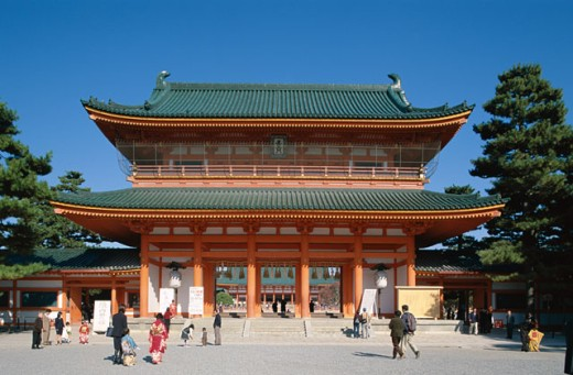 Stock Photo: 442-6696 Facade of a shrine, Heian Jingu Shrine, Kyoto, Honshu, Japan