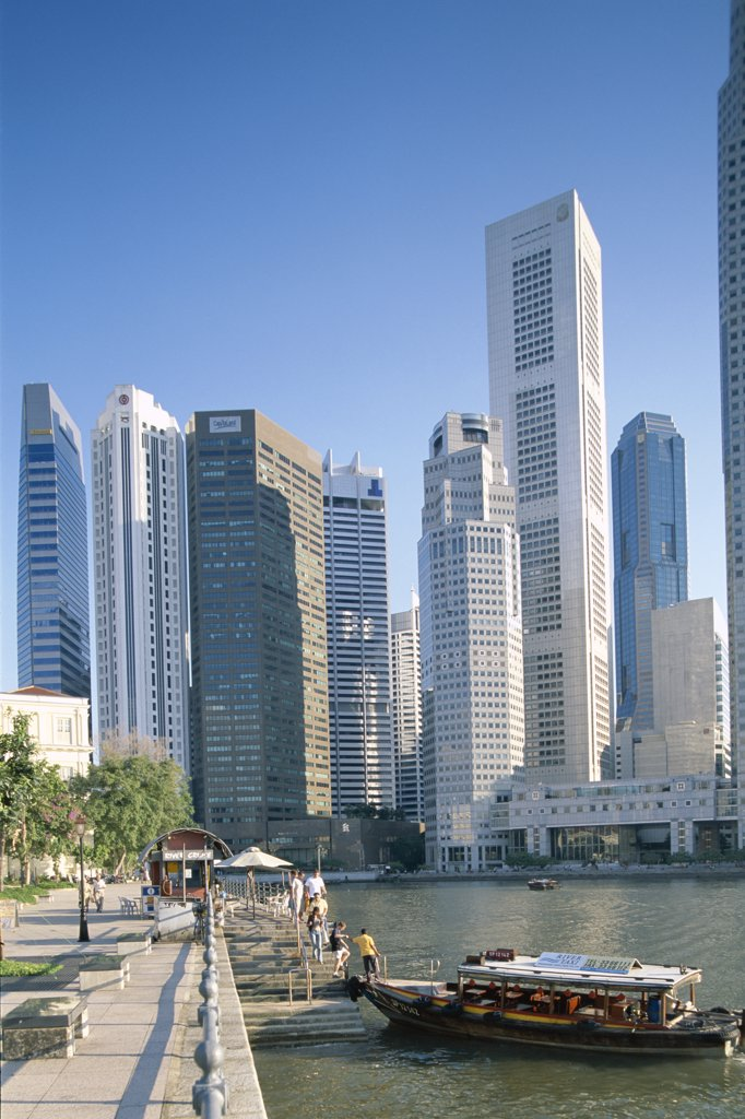 Stock Photo: 442-6828 Skyscrapers in a city, Financial District, Clarke Quay and Singapore River, Singapore
