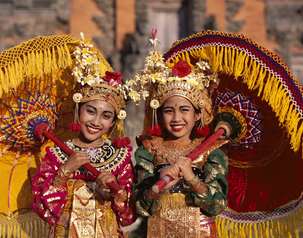 Stock Photo: 442-6996 Portrait of two Legong dancers dressed in traditional costumes, Bali, Indonesia