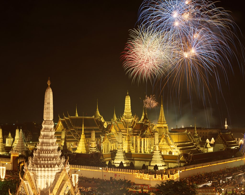 Fire works over a temple, Wat Phra Kaeo (Temple of the Emerald Buddha), Bangkok, Thailand : Stock Photo