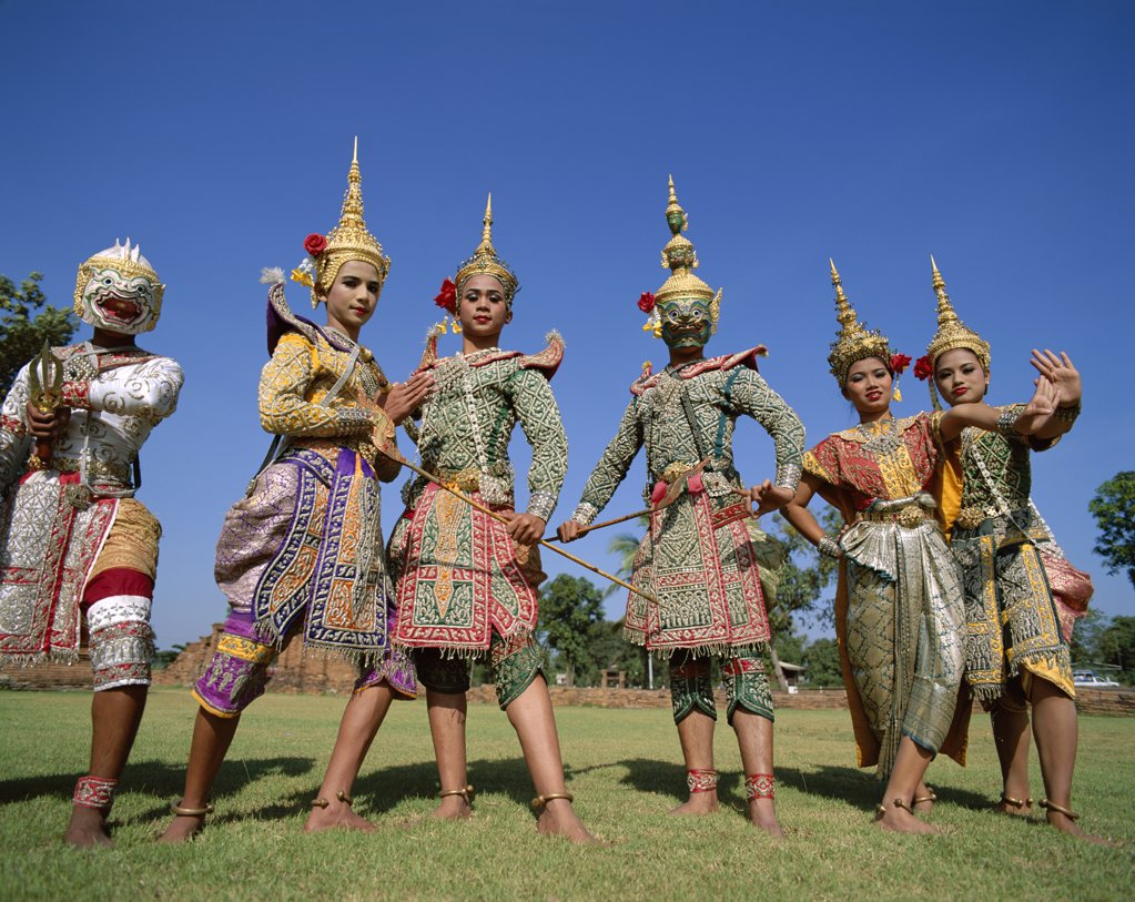 Lakhon and Khon dancers in traditional costumes performing a classical dance, Bangkok, Thailand : Stock Photo