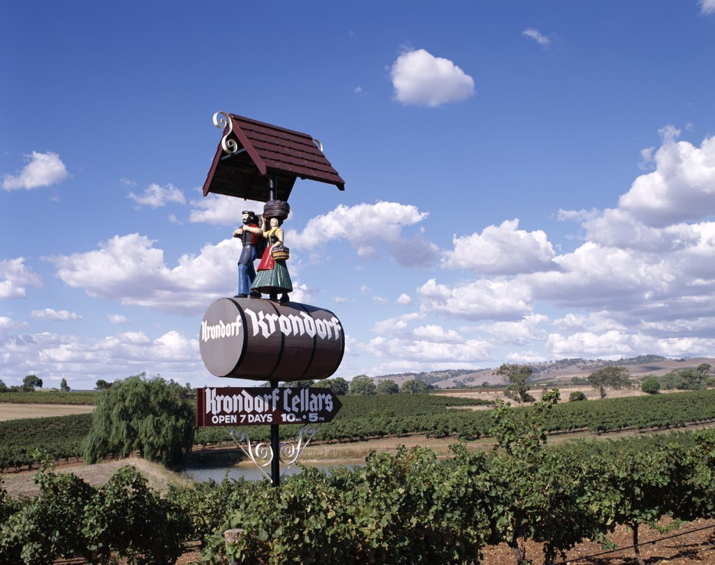 Stock Photo: 442-7345 Sign of a vineyard, Nuriootpa, Barossa Valley, Adelaide, South Australia, Australia