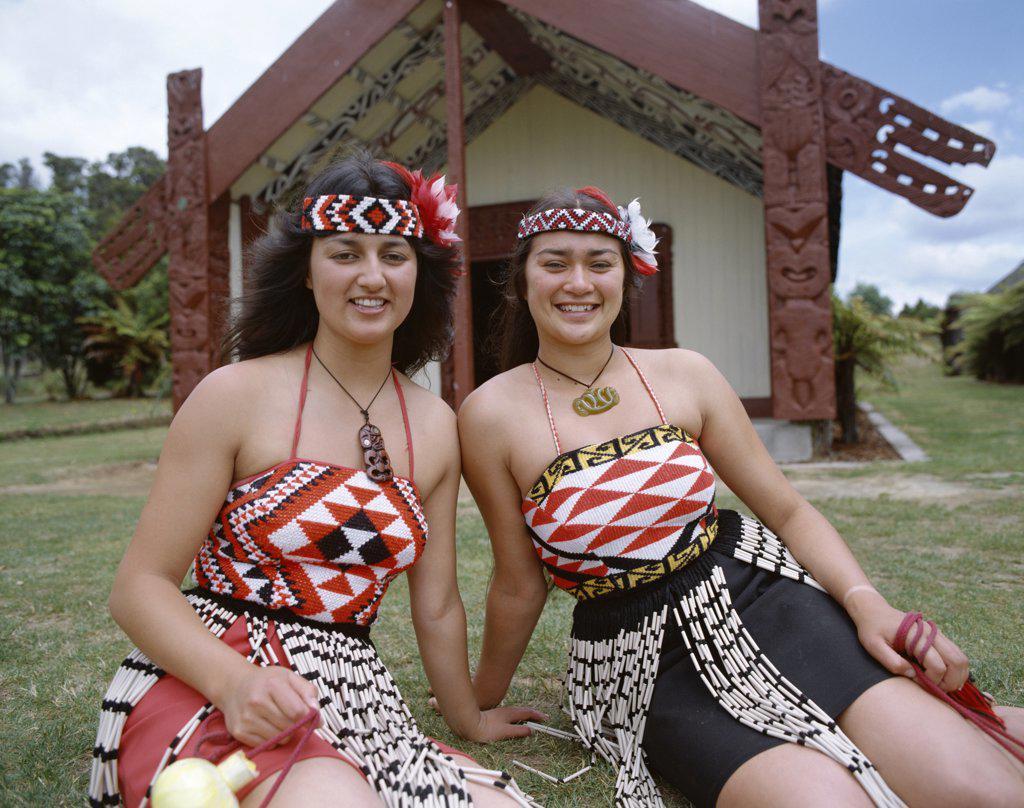 Stock Photo: 442-7403 Maori Women Dressed in Traditional Maori Costume, Rotorua, North Island, New Zealand