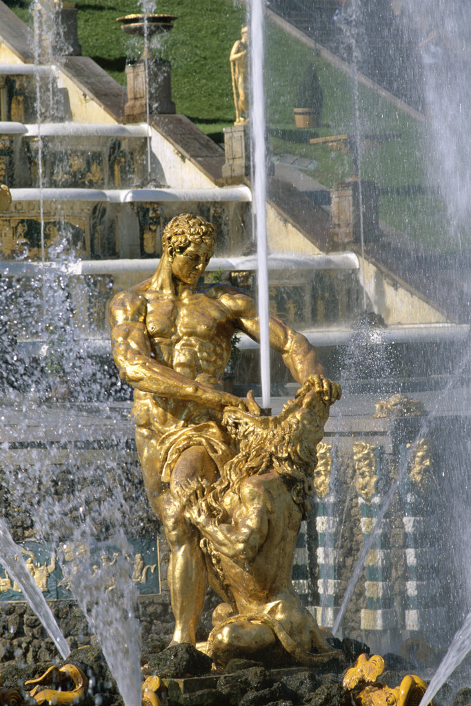 Stock Photo: 442-7591 Gilded statue in the Samson Fountain, Great Palace, Petrodvorets, St. Petersburg, Russia