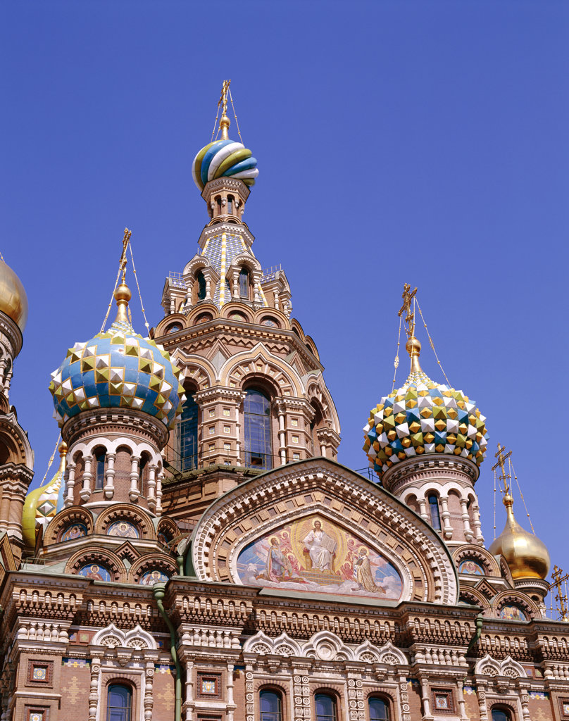 Stock Photo: 442-7598 Low angle view of the Church of Christ's Resurrection, St. Petersburg, Russia