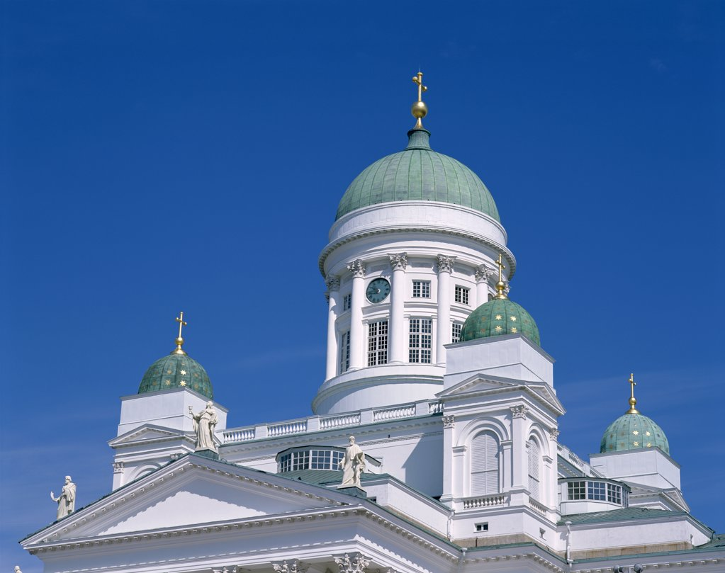 Low angle view of a cathedral, Senate Square, Helsinki, Finland : Stock Photo