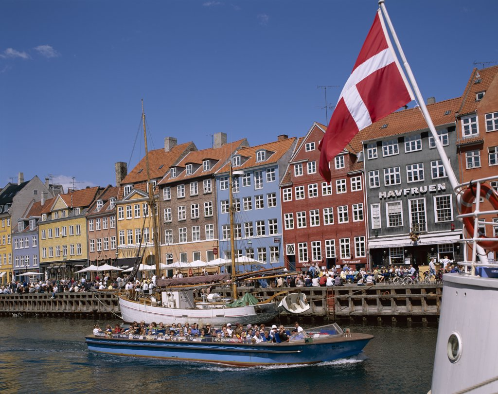 Tour boat at Nyhavn, Copenhagen, Denmark : Stock Photo