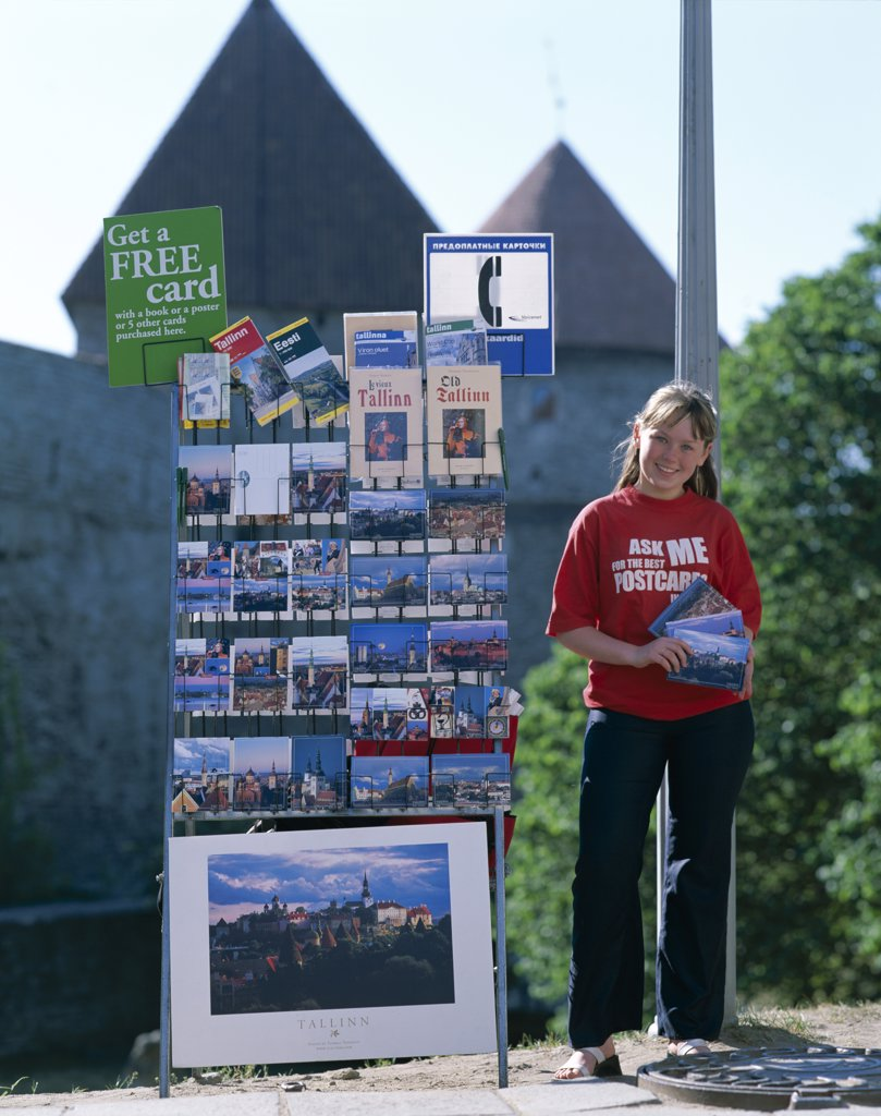 Girl Postcard Vendor, Old Town, Tallinn, Estonia  : Stock Photo