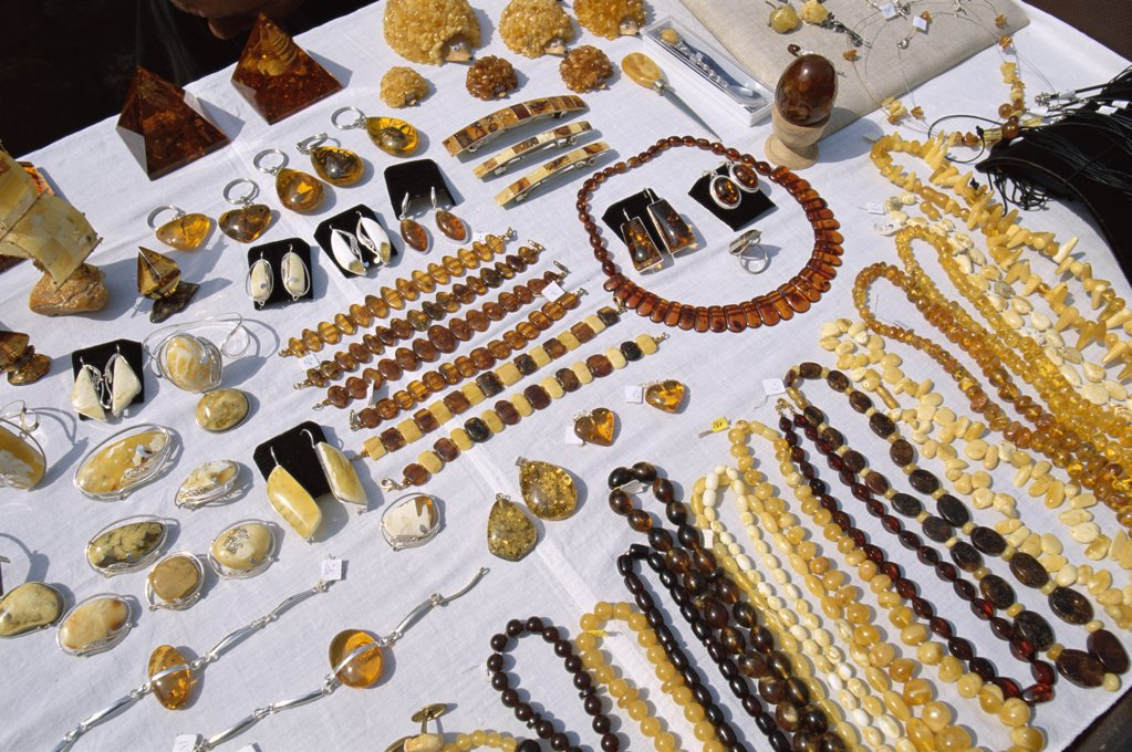 Amber necklaces and jewelry, Riga, Latvia : Stock Photo