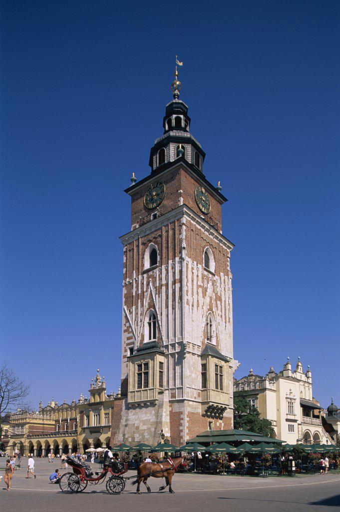 Clock Tower, Market Square, Krakow, Poland : Stock Photo