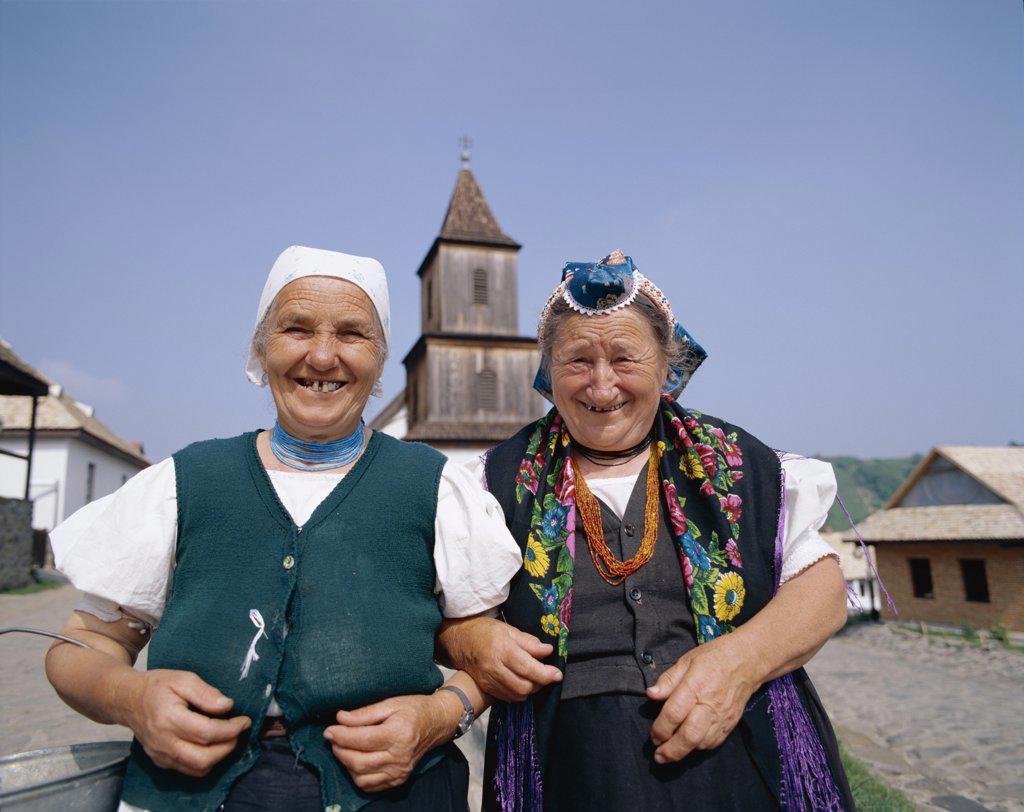 Stock Photo: 442-7757 Local Elderly Women Dressed in Traditional Costume, Holloko, Hungary