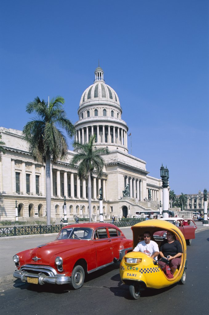 Stock Photo: 442-7828 Vintage cars parked in front of a government building, Capitol Building, Havana, Cuba