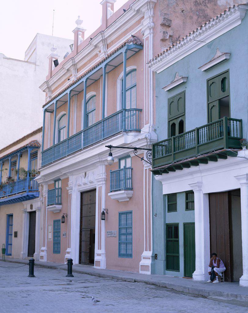 Stock Photo: 442-7836 Row of buildings in a city, Havana, Cuba