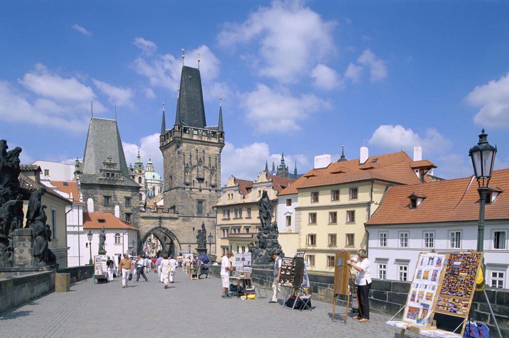 Tourists at the Charles Bridge, Prague, Czech Republic : Stock Photo