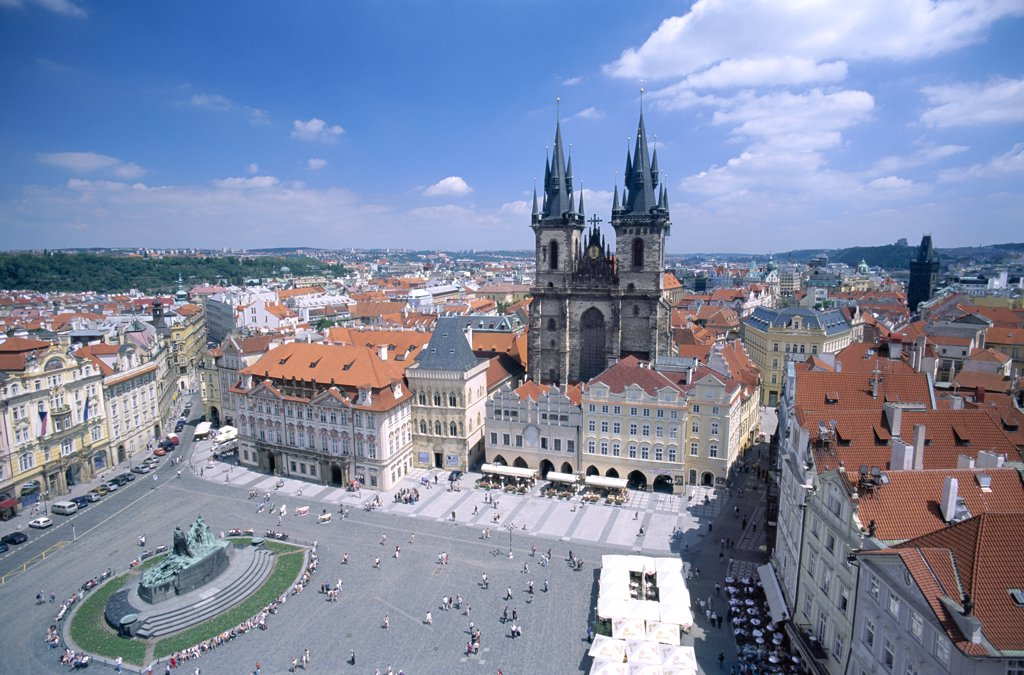 High angle view of Old Town Square, Prague, Czech Republic : Stock Photo
