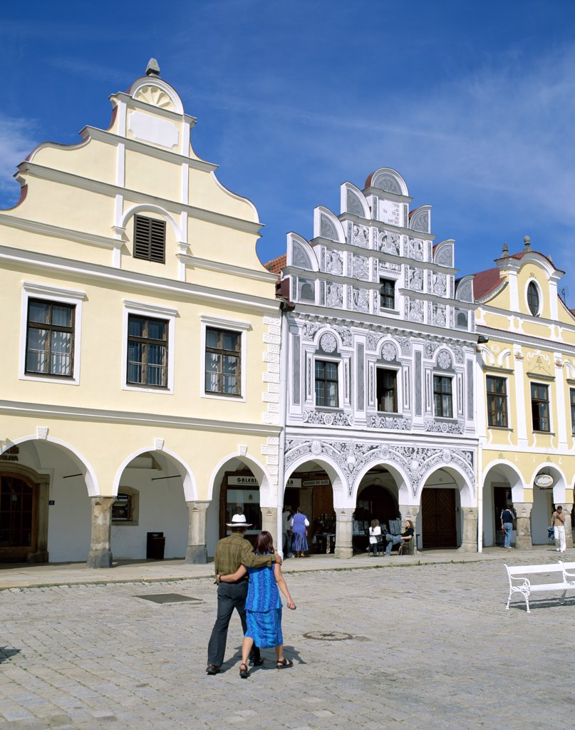 Facade of buildings at Zacharia Hradec Square, Telc, South Moravia, Czech Republic : Stock Photo