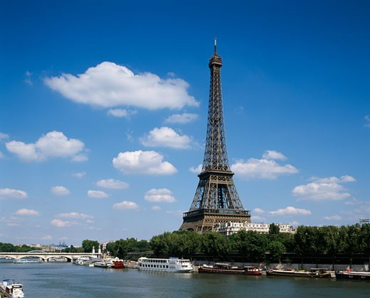 Stock Photo: 442-812A Boats in the river, Eiffel Tower, Seine River, Paris, France